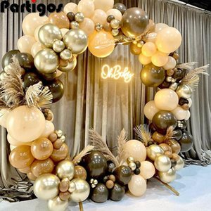 Party Decoration 102pcs lot Coffee Brown Balloons Arch Kit Skin Color Latex Garland Baby Shower Supplies Backdrop Wedding Decor