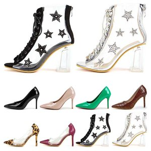 Hot sale-Dress Shoes high heels womens stiletto heel Western style black Nude green Leopard sexy fashion Pointed toes 8CM patchwork
