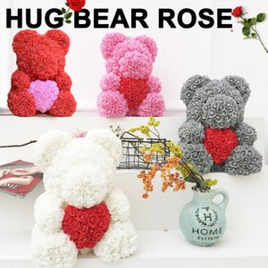 Artificial Rose Bear Dolls Rose Bear Lovely Romantic PE LOVE Heart-Shaped Girlfriend Love Simulated