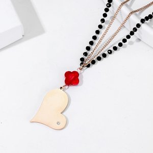 Stainless Steel Long Heart Love Pendant Necklace For Women Black Beads Red Four-leaf clover Crystal Necklace New Fashion Jewelry