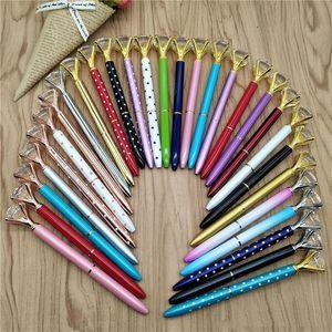 Creative Crystal Glass Ballpoint Pen Diamond Crystal Ball Pen Big Gem Metal Gel Pen With Large Diamond 23 Colors School Office Supplies