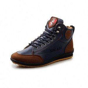 2019 zapatos de cuero impermeable de primavera y otoño, botas masculinas, botas de tobillo, cordones, zapatos para hombre, zapatos de deporte cómodos diseñador SH O8QV #