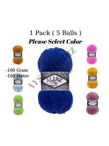 Thread 1 Pack ( 5 Balls ) Alize Superlana Maxi Knitting Yarn (%25 Wool %75 Acrylic) 100 Gram 100 Meter Crochet Tool Kit