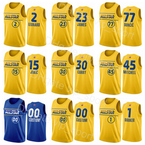 Basketbol All-Star Jersey 2021 Stephen Köri Lebron Nikola James Luka Doncic Kawhi Leonard Damian Lillard Devin Booker Donovan Mitchell Erkekler