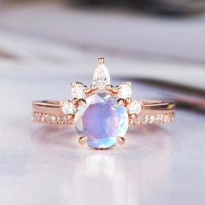 Moonstone Engagement Ring Rose Gold 925 Silver Eternity Bridal Set Antique Curved Half Halo CZ Stone Band Wedding Jewelry