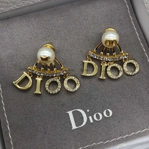 Dijia d Pearl Cd Earrings Stud Letter Gold Star Asymmetric Han Feng
