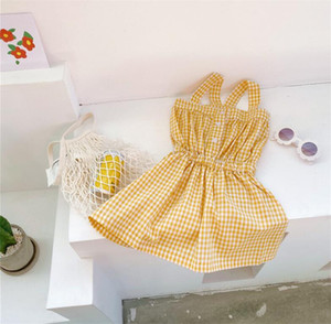 Newest INS Little Baby Girls Designer Clothing New Girls Plaid Dress Fashion Summer Cotton Girls Vest Sleeveless Princess Clothes Dress