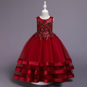 2021 Summer Bridesmaid Girl Dress Elegant Kids Dresses For Girls Children Clothes Wedding Princess Lace Floral Dress 10 12 Years