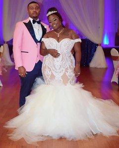 2021 Plus Size Arabic Aso Ebi Illusion Mermaid Lace Wedding Dresses Sweetheart Tiers Bridal Dreses Sexy Cheap Wedding Gowns ZJ206