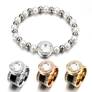 Flexible Pearl Adjustable Charm Bracelets Energy Crystal Bangle Stainless Steel Bridal Jewelry for Women Wedding Gift