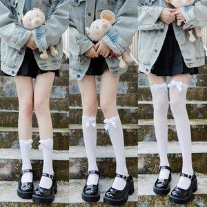 Socks & Hosiery Japanese Girl Thigh High Kawaii Cosplay Sexy Nylon Stockings Female Lolita JK Uniform Cute Knee With Bow