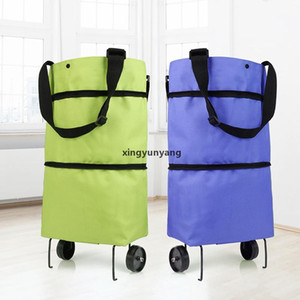 JH Folding Shopping Pull Cart Trolley Bag With Wheels Foldable Shopping Bags Reusable Grocery Bags Food Organizer Vegetables Bag