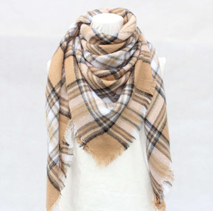 New khaki Autumn Winter Shawl imitation cashmere plaid large square Scarf air conditioning blanket dual purpose