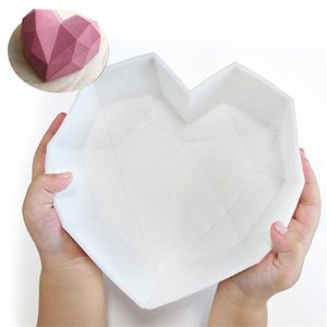2021 Fast Shipping Diamond Love Heart-Shaped Silicone Molds for Sponge Cakes Mousse Chocolate Dessert Bakeware Pastry Mould Handmade Gift