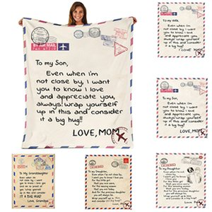 Flannel Envelope BlanketLetter 3DPrinted Envelopes Love Warm Quilts Mother Father To Daughter Son Wife Wrap Family SEAWAY GWF10298 Blanket