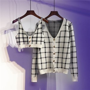 Retro Style Sexy Short Suspenders + Plaid Knitted Jacket Two-piece Women 2021 Spring and Autumn Fashion Suit Cx200725
