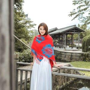 2020 new national style shawl 140x140 jacquard tassel thickening warm women's Fashion scarf dual purpose