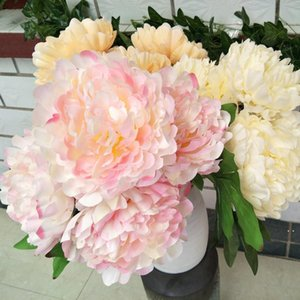 Cinco cabeça peônia tecido de seda simulação peônia flores buquê de nupcial floral floral casamento decoração vermelho rosa hwa3753