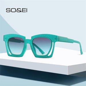 SO&EI Fashion Square Gradient Sunglasses Women Vintage Unique Hollow Eyewear Men Trending Champagne Sun Glasses Shades UV400