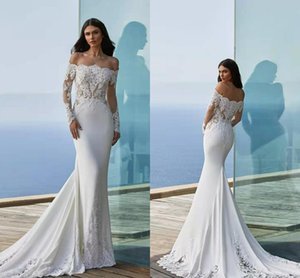 2021 Modern Off The Shoulder Mermaid Wedding Dresses Illusion Long Sleeve Lace Appliqued Beach Boho Bridal Gowns Sweep Train Vestidos AL8787