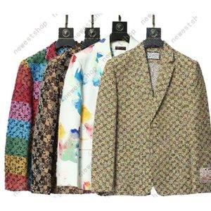 Western Kleidung Blazer Mix Style 2021 Designer Herbst Luxus Herren Outwear Mantel Slim Fit Casual Tier Grid Geometrie Patchwork Drucken Männliche Mode Kleid Anzug
