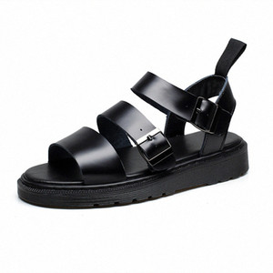 Doc Leather Sandals Women Summer Soft Martins Shoes Buckle Strap Ladies Sandalias Slippers Plus Size Women Casual Roman Sandals Sandel O0DZ#