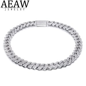 AEAW 18 Inch 925 Sterling Silver Setting Iced Out Moissanite Diamond Hip Hop Cuban Link Chain Miami Necklace Jewelry for Mens 0308