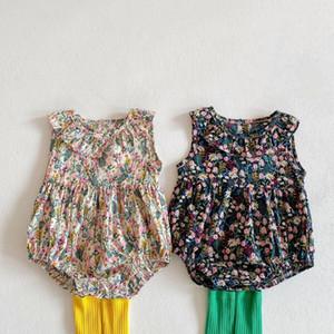 INS 2021 Girls Floral Princess Romper Summer Thin Baby Flower Sleeveless Dress Jumpsuit Infant Ruffle Lapel Onesie Climb Clothes C6835