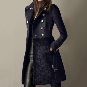 2020 зимняя женская куртка шерстяная пальто с длинным кнопкой тонкий пальто женская офисная одежда черные элегантные дамы теплые сексуальные пальто
