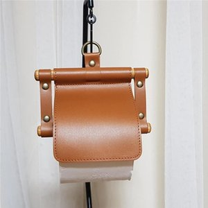 Home Kitchen Storage Punch Free Practical PU Leather Container Portable Solid Toilet Paper Holder Hotel Wall Hanging Office