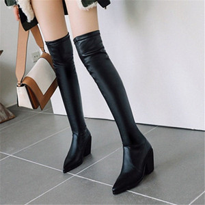 PXELENA Plus Size 34 43 Slip On Thigh High Boots Women Chunky High Heels 2020 Spring Autumn New Slim Over The Knee Boots Shoes Cheap S Q4eE#