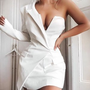 Sexy Deep V-neck One Shoulder Mini Blazer Dress Women Slim Fit Irregular Long Sleeve Short Dresses Workwear (without Belt)