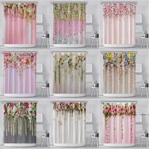 Flower Shower Curtain Hanging Flower Printed Polyester Fabric Bathroom Curtain with Plastic Hook Spring Festival Wedding Bathroom FWA3962