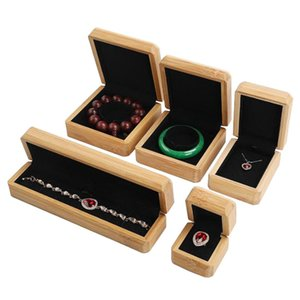 Bamboo Wood Jewelry Ring Bracelet Necklace Box Wrapping Gift Box Buddhist Beads Solid Wood Jewelry Organizer