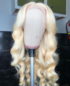 Middle Part Body Wave 13*1 Lace Front Wigs 28 Inch Brazilian Remy Human Hair 613 Blonde Deep Part Wig Pre Plucked with Baby Hair
