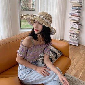 Chapéu Verão Feminino Fresco Folding Flor Handmade Chapéu de Palha Praia Big Beaves Sun Protection Sun versão coreana da maré