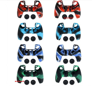 Camouflage Handle Sleeve Silicone Case Dustproof Skin Protective Cover Anti-Slip for Play-Station PS5 Controller Game Thumb Sticks camo case