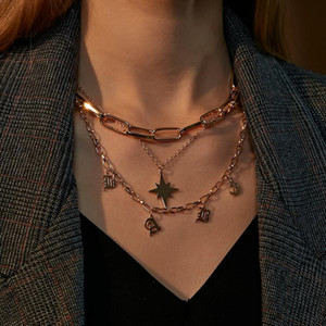Pretty Choker Collier Necklaces Boho Letter Star Chain Multilayer Necklaces For Women Men Bar Layered Tassel Metal Gold Chain Necklace