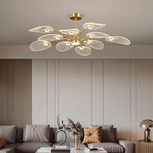 Nordic LED Ceiling Lamp for Bedroom Living Room Lotus Leaf Shape Creative Design All Copper Chandeliers Home Decorative Pendant Lights