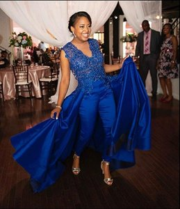 Royal Blue Lace Stain Evening Dresses with Jumpsuit 2021 Beaded Jewel Neck African Black Girls Occasion Prom Pant Suit