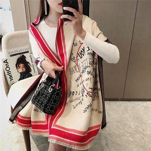 Wool scarf women's Korean version versatile British thickened warm neck cashmere winter long double-sided shawl 2YG7