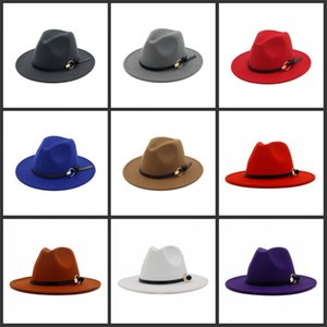 DHL Damen Fedora Hut für Gentleman Wolle Wide Krempe Jazz Church Cap Band Wide Flat BRIM Jazz Hats Stilvolle Trilby Panama Caps 41 Y2