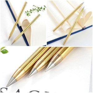 Retro Pirinç Mürekkepsiz Kalem Saf Pirinç Metal Hayır Meksika Kalem Kalem Stylus Hediye Bakır 1 adet Açık Everlasting Seyahat