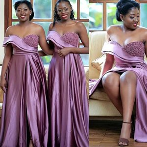Light Purple Bridesmaid Dresses Off the Shoulder Beaded Pearls Sexy Front Slit Elastic Satin Maid of Honor Gown Plus Size Wedding Party Wear