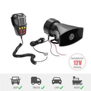 7-Sound Loud Car Warning Alarm Speaker Police Fire Siren Air Horn Bugle PA 12V Sound Signal Megaphone for Truck Van Auto Motorcycle