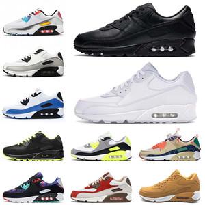 nike air max airmax 90 off white 2021 Nueva calidad deportiva 90 cojines Zapatillas para correr para hombres Mujeres Triple negro TODAS las blancas Zapatillas de deporte mundo