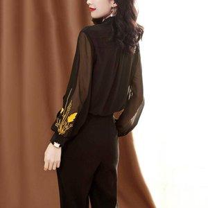 2021 Новый черный слойный рукав шифоновая рубашка женщины элегантные лоскутные сетки вершины дамы офис плюс размер рабочая блузка осень вышивка UD3Q