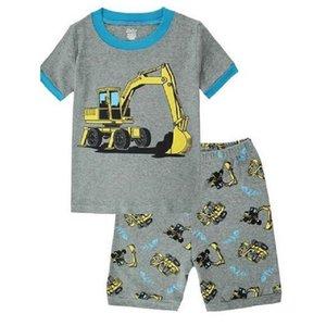 Hooyi Digger Baby Boys Pajamas Suits Summer T-Shirts Pant Children Clothes Sets 100% Cotton Kids Sleepwear Nightdress Tee Shirts 210915