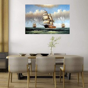 Sailing Ships Nautical 1800s Classic Home Decoration Handpainted HD-Print Large Oil Painting On Canvas Wall Art Canvas Picture 210301