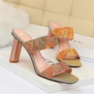 Sandales pour femmes coréennes talon épais talon haut talon brillant Word strass avec des pantoufles haute femme chaussures mocassins pour femmes sabots pour femmes